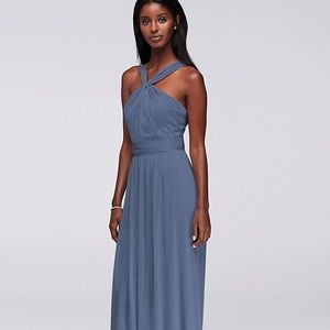 DAVID'S BRIDAL Y-Neck Long Mesh Dress Steel Blue 6